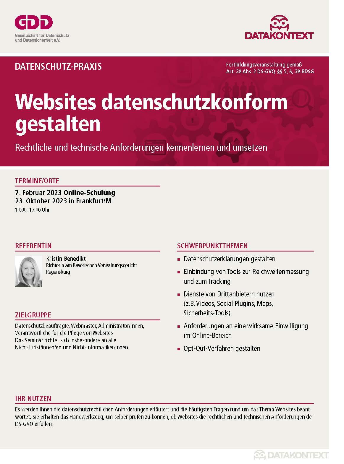Websites datenschutzkonform gestalten