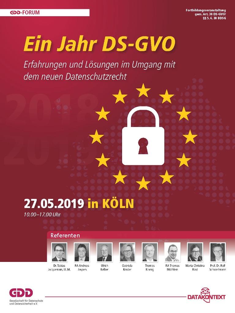 Ein Jahr DS-GVO – Erfahrungen und Lösungen im Umgang mit dem neuen Datenschutzrecht