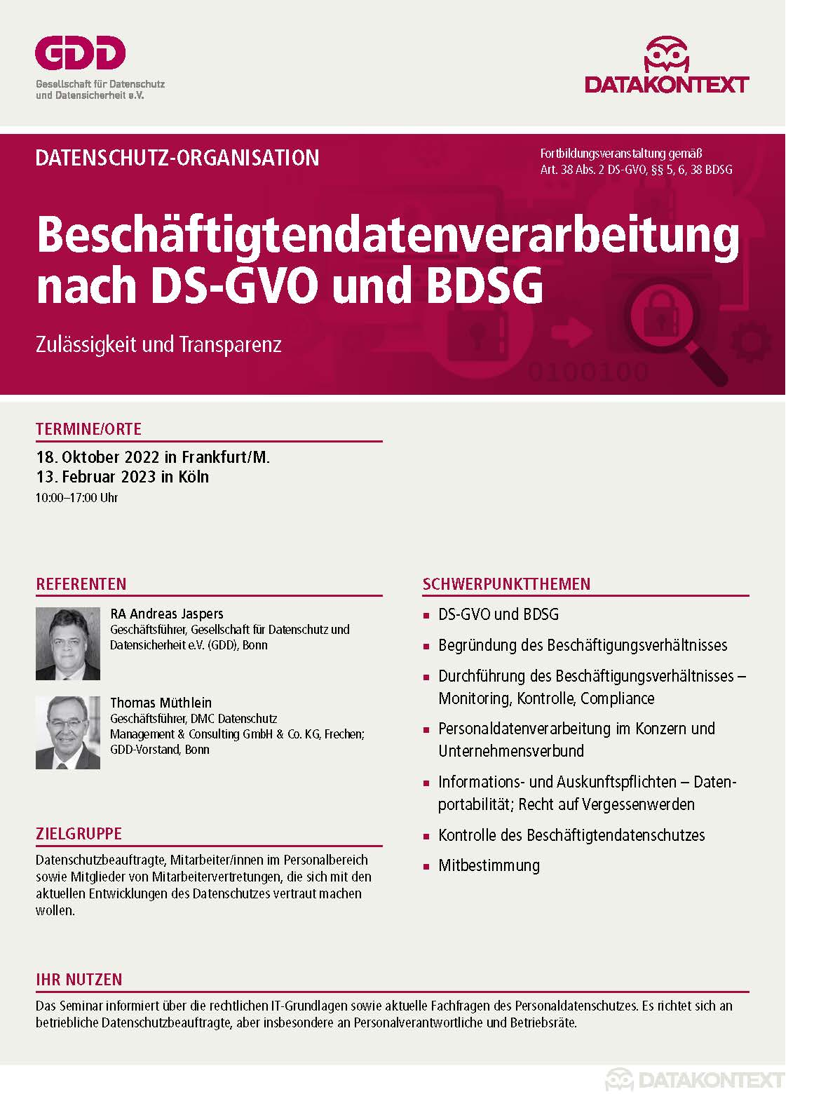 Beschäftigtendatenverarbeitung nach DS-GVO und BDSG