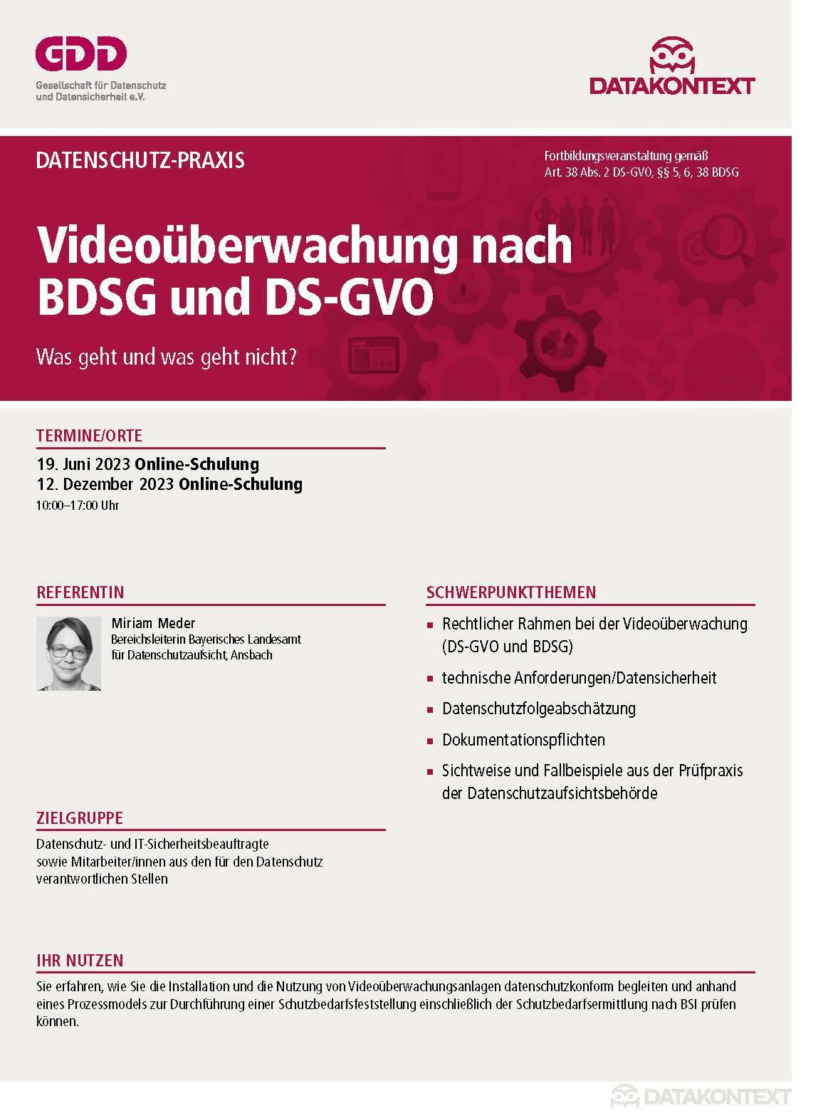 Videoüberwachung nach BDSG und DS-GVO