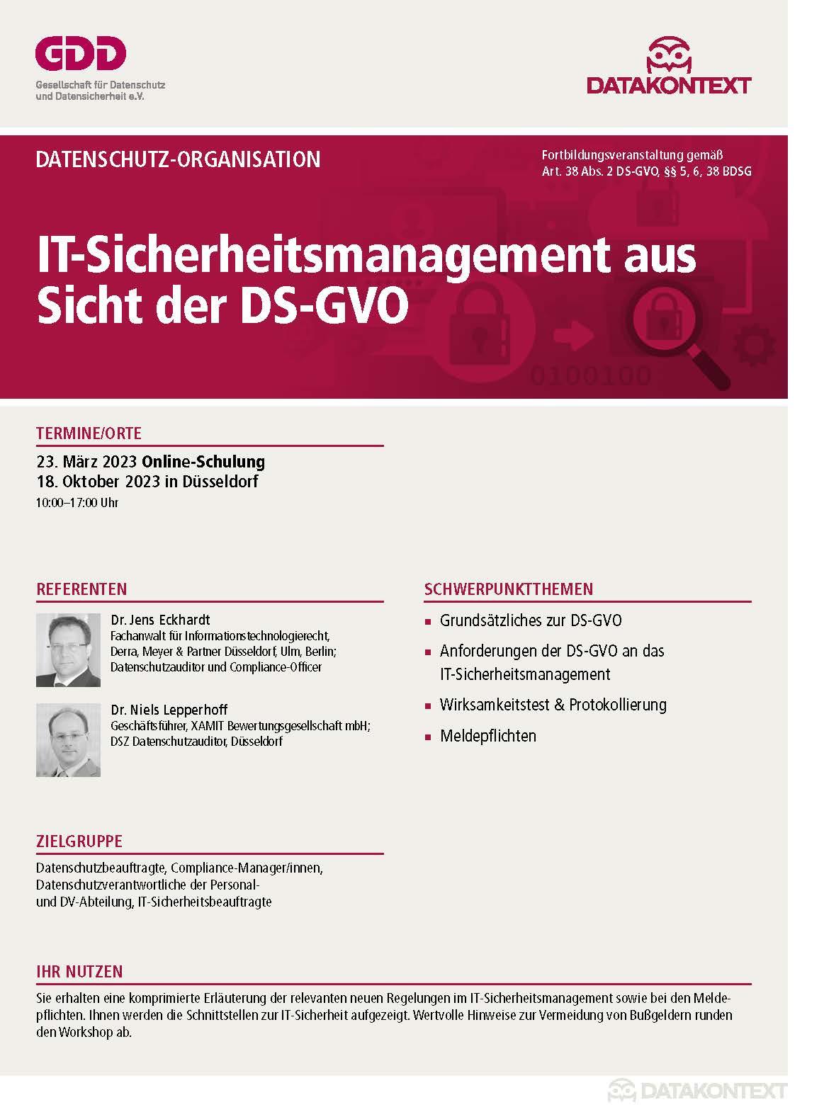 IT-Sicherheitsmanagement aus Sicht der DS-GVO