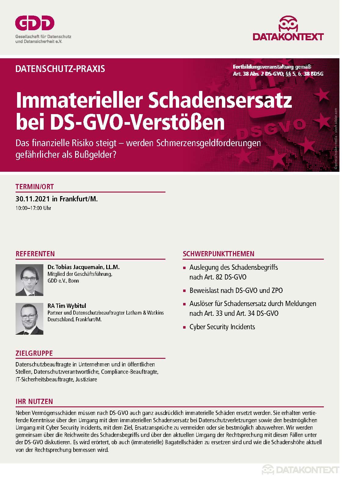 Immaterieller Schadensersatz bei DS-GVO-Verstößen