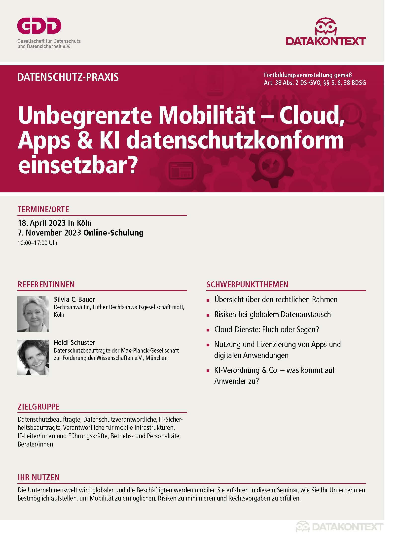 Mobile Endgeräte im Zeitalter von DS-GVO und e-Privacy-VO